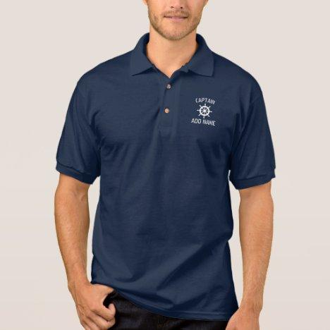 Custom boat captain name navy ship helm polo shirt