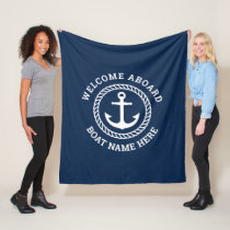Custom boat name welcome aboard anchor and rope fleece blanket