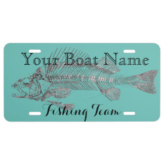 Custom Boat Name with Fish Bones License Plate