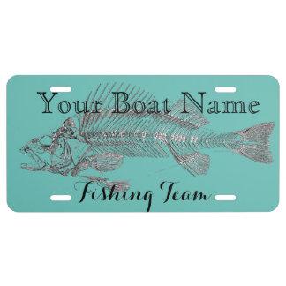 Custom Boat Name with Fish Bones License Plate