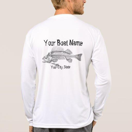 Custom boat name with fish bones shirt zazzle for Custom boat t shirts