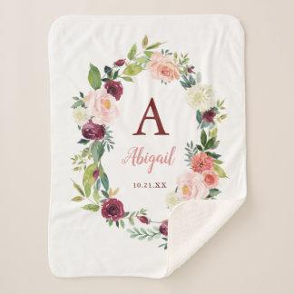 Custom Boho Floral Wreath Burgundy Sherpa Blanket
