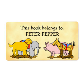 Custom Bookplate Vintage Toy Dog, Horse and Pig Label