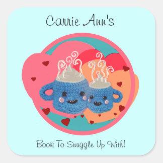Custom Bookplate with snuggle mugs and hearts -