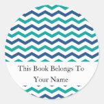 Custom Bookplates | Green Blue Chevron Stripes Classic Round Sticker