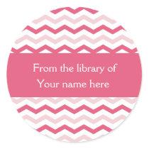 Custom Bookplates | Pink Chevron Stripes
