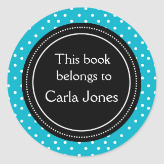 Custom Bookplates | White Dots On Blue