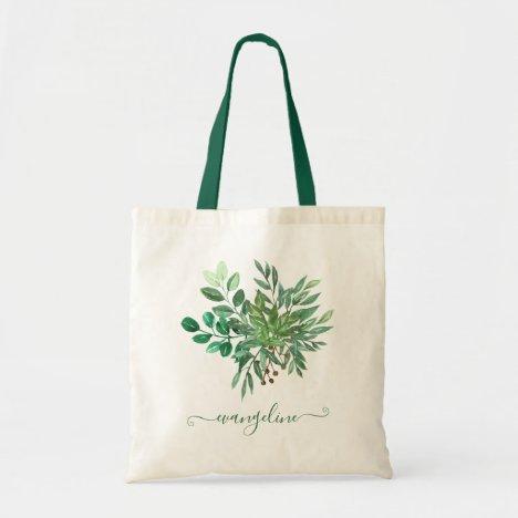 Custom Botanical Greenery Leaf Watercolor Pretty Tote Bag