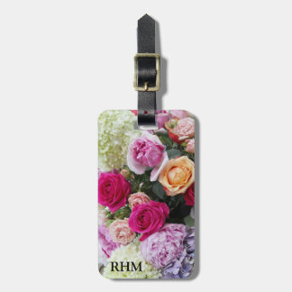 Custom Bouquet of Summer Flowers Roses Monogram Tag For Luggage