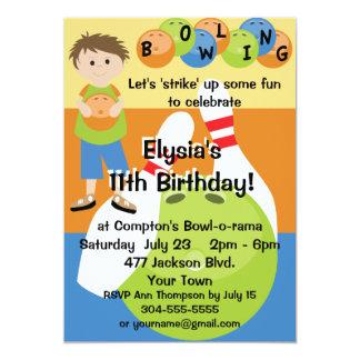 Custom Bowling Birthday Party 5x7 Paper Invitation Card