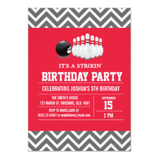 Custom Bowling Birthday Party Invitation for Boy