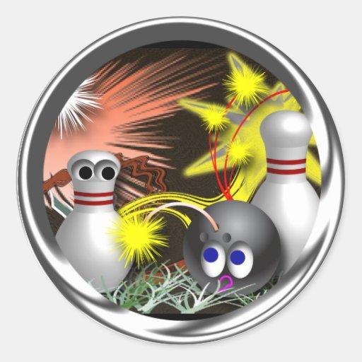 Custom Bowling July 4th Classic Round Sticker