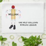 "Custom Bowling League Towel<br><div class=""desc"">This bowler cartoon is perfect for anyone who loves their bowling league and the sport of bowling.</div>"