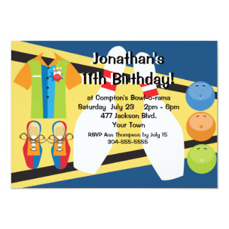 Custom Bowling Party 5x7 Paper Invitation Card