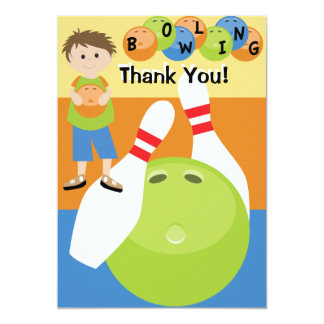 Custom Bowling Thank You 5x7 Paper Invitation Card