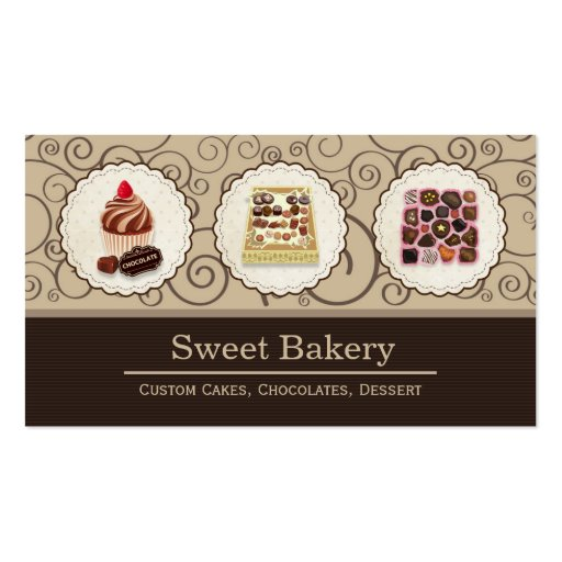 Custom Box of Chocolates Dessert Bakery Store Business Card Templates (front side)