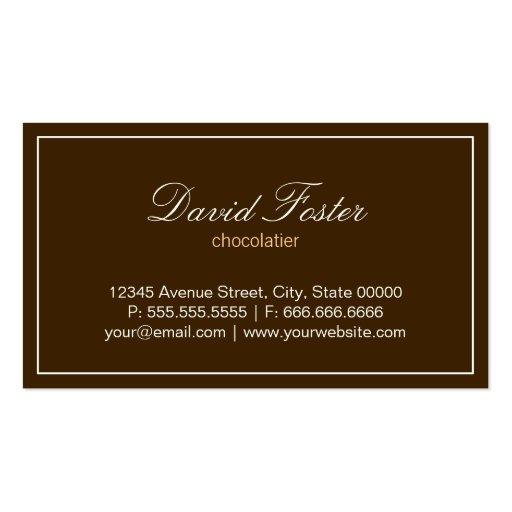 Custom Box of Chocolates Dessert Shop Store Business Card Templates (back side)