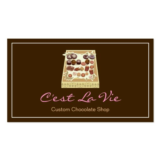 Custom Box of Chocolates Dessert Shop Store Business Card Templates (front side)