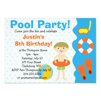 Custom Boy Birthday Pool Party 5x7 Paper Invitation Card