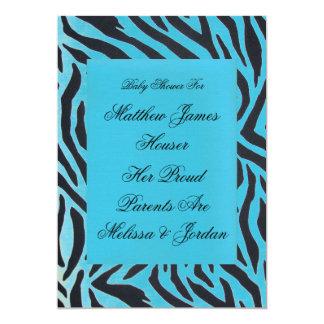 Custom Boy Blue Shaded Zebra Stripe Party Invitati Card