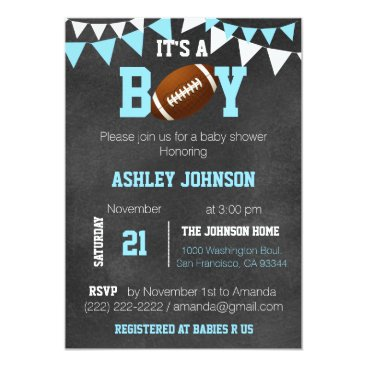 Toddler & Baby themed Custom Boy Chalkboard Football Theme Baby Shower Card