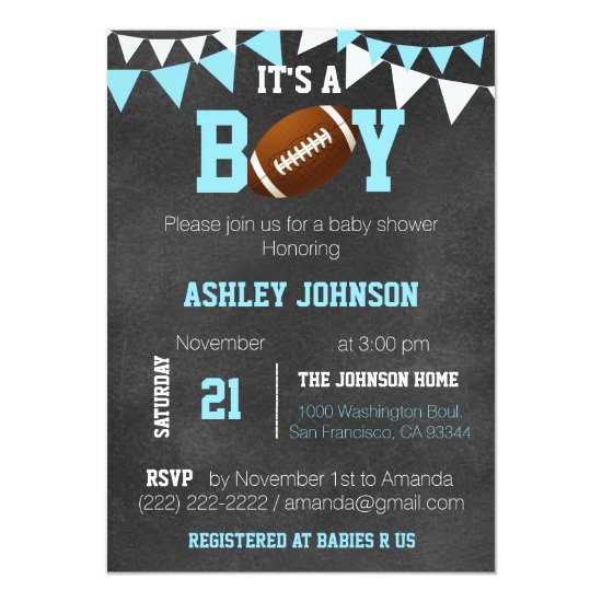Custom Boy Chalkboard Football Theme Baby Shower Invitation