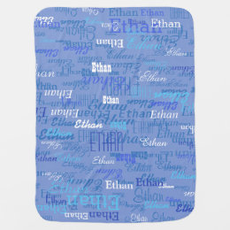 custom boy color names, personalized blue swaddle blanket