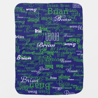 custom boy color names, personalized navy green baby blanket
