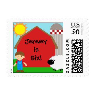 Custom Boy Farm Birthday Postage Stamps