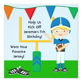 "Custom Boy in Blue Football Birthday Invitation 5.25"" Square Invitation Card"