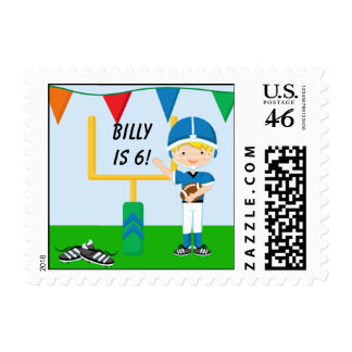 Custom Boy in Blue Football Postage Stamps
