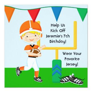 "Custom Boy in Orange Football Birthday Invitation 5.25"" Square Invitation Card"