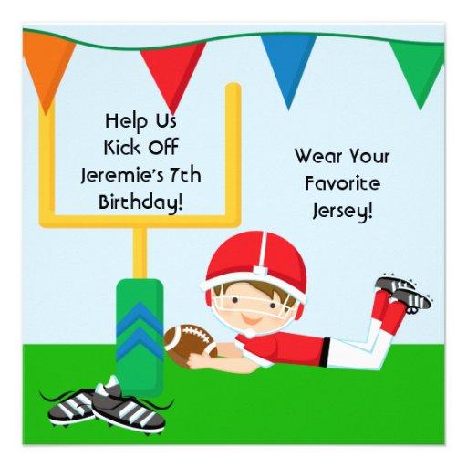 Custom Boy in RedFootball Birthday Invitation