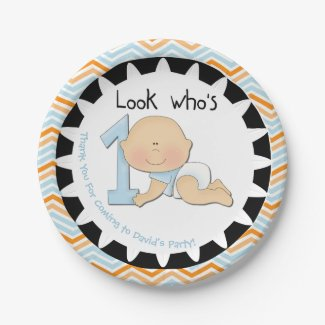 Custom Boy Look Who's 1 First Birthday Paper Plate