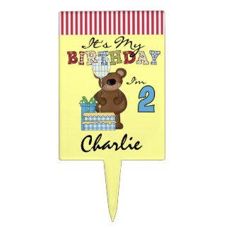 Custom Boy Teddy Bear 2nd Birthday Cake Topper