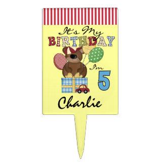 Custom Boy Teddy Bear 5th Birthday Cake Topper