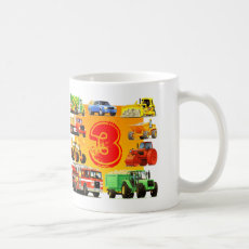 Custom Boy's 3rd Birthday Construction Truck Coffee Mug