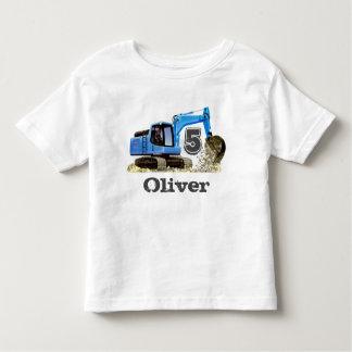 Custom Boy's 5th Birthday Blue Digger Excavator Toddler T-shirt