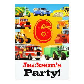 Custom Boy's 6th Birthday Construction Truck Party Card