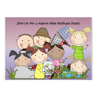 "Custom Boys and Girls Nature Hike Birthday Invite 5"" X 7"" Invitation Card"