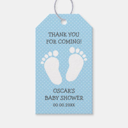 Custom boys baby shower thank you footprints steps gift tags