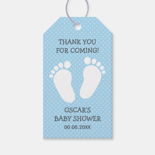 custom boys baby shower thank you footprints steps gift tags zazzle