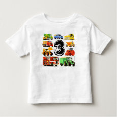 Custom Boy's Construction Trucks 3rd Birthday T-shirt
