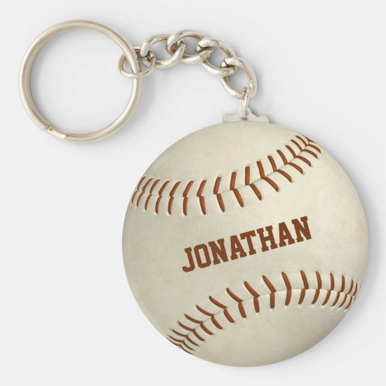 custom boys girls simple baseball softball keychain