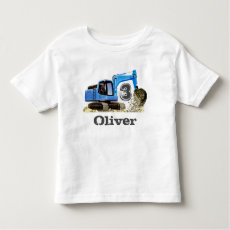 Custom Boy's Name 3rd Birthday Digger Excavator T-shirt
