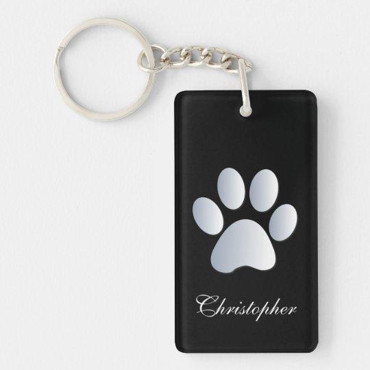 Custom boys name dog paw print in silver & black keychain