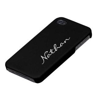 Custom boys name initial letter N black stylish Covers For iPhone 4