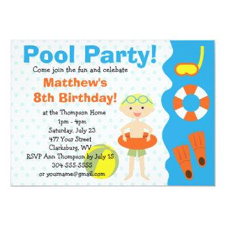 Custom Boy's Pool Party Birthday 5x7 Paper Invitation Card