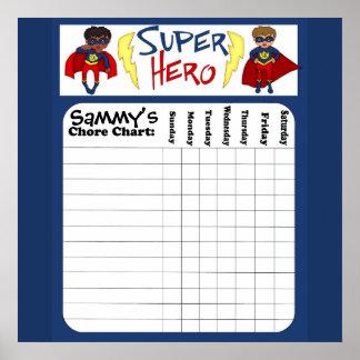 Custom Boys Superhero Chore Chart Poster