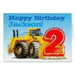 Custom Boy's Yellow Digger 2nd Birthday Card